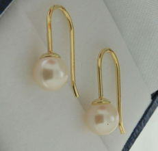 14 kt yellow gold pearl 6 mm dangle earrings French hook