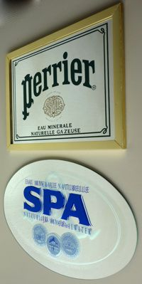 Spa & Perrier water - two advertising mirrors - 1980s