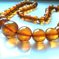 Antique Baltic amber necklace 1920s - 1940s , 51 grams,  natural amber