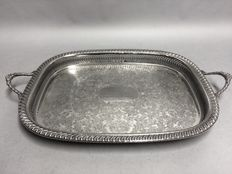 Silver tray with engraved text