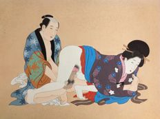 Large erotic painting (Shunga) on silk – Japan – Around 1920