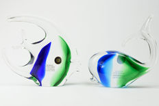 "Rubelli glassworks - pair of animals ""moonfish and whale"""