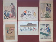 Six nice coloured woodcuts with various images. One is by Kitagawa Utamaro (recarving) – Japan – ca 1910.