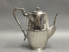 Silver plated coffeepot with classic rib and silver plated handle, Maple & Co, London, England, ca 1940
