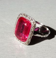 Ring in 18 kt white gold set with a ruby-red sapphire.