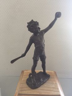 Old babbitt statue, signed - racket player, second half of the 20th century, Belgium