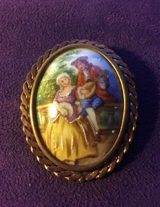 Large Embellished Brass Brooch with Porcelain Medallion from the 1920s/1930s**NO RESERVE PRICE**