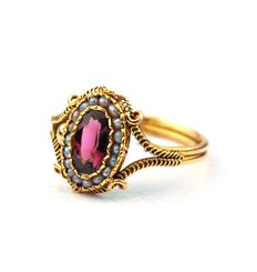 Sapphire & Pearl 18K Yellow Gold Ring