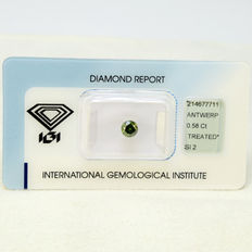 Fancy green blue SI2 diamond 0.58ct