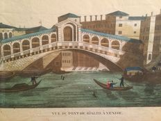 Colored print of Rialto Bridge in Venice by Basset in 1700/early1800