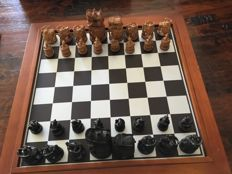Wooden hand-carved chess set from India in fine storage chest
