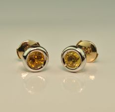 Yellow Sapphire set on 18K/750 White Gold Earrings