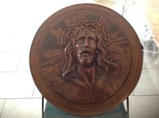 Large signed copper wall-plate of Christ's head - 1st half of the 20th century - Belgium