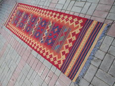 3151 # SUPER QUALITY TRIBAL HAND WOVEN LAMB WOOL KILIM RUNNER 86 x 297 CM