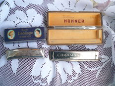 M. Hohner Unsere Lieblinge and Chromonika III 280 C, lot of 2 harmonicas, made in Germany, in original packaging