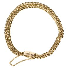 14k Yellow gold curb link bracelet - Length: 19 cm