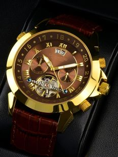 CALVANEO 1583 Astonia Gold / Brown - Automatic multifunction men's wristwatch - New