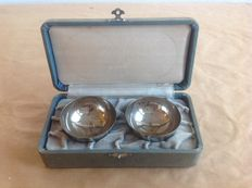 Two steel Japanese Imperial Army sake Memorial cups in a matching carrying case