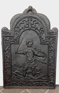 Cast iron fireplace plate andiron - Venice - Empire style - first half of the 19th century