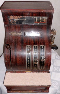"Antique mechanical cash register / till, German  quality brand ""National-Berlin"" around 1925,serial number 3044940"
