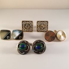 A lot of 4 pairs of vintage cufflinks, including 1 pair of Paco Rabanne