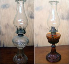 Pair of Kerosene Lamps with 50mm Glass Chimney  by Vacuum Oil Company and Dabs, 1st half 20th Century