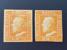 Italy, Sicily, 1859 – 2 x ½ Grana stamps – Sassone catalogue tables I and II, No. 1 and 2