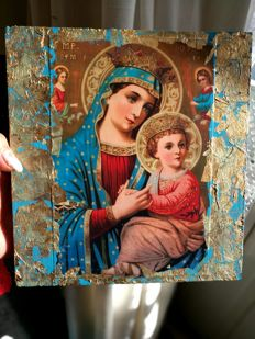 Twee  iconen - Virgin and the Child icon, real gold leaf 9k,