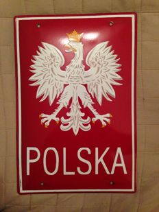 Polish border sign, enamel end of XX century