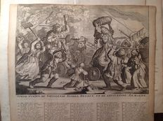 Holland - 5 caricatural engravings on Sieur Law's terrible bankruptcy in 1720 - 18th c.