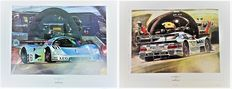 2X Lithography by Hessel Bes - Sauber Mercedes-Benz C9 #61 1989 & Mercedes-Benz CLK LM D2 Ludwig 1998 Grey