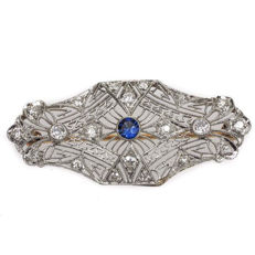Gold Art Deco diamond brooch, approx. 0.53 ct diamond in total/VS header Wesselton