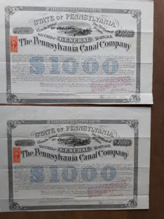 2  x United States of America:  The State of Pennsylvania Canal Company 6% General Mortgage Bond  $ 1000, 1870