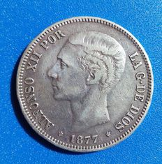 Spain – Alfonso II – 5 pesetas silver coin – Madrid 1877 * 18 * 77, two stars visible