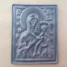 """Russian bronze travel icon of the """"MOTHER of GOD HODEGETRIA of SMOLENSK"""" 19th century"""