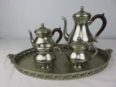 Royal Holland Pewter KMD Tiel 5 piece coffee set, tin