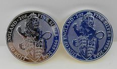 Great Britain - 5 Pounds 'Queen's Beasts' 2016 (lot of 2 coins) - Silver
