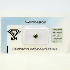 Fancy green - VS2 diamond 0.61 ct