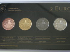 Spain - Precious Metal Set - 2 Euro 'Park Guell' 2014 (4 different coins)