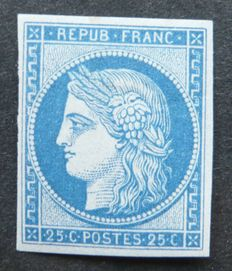 France 1862 - 25c blue - Ceres - Signed Jacquard with digital certificate - Yvert No. 4d - Reprint