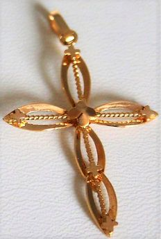 'Twisted' cross with 18 kt/750 yellow gold chain