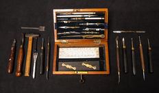 A set of fourteen pattern-makers tools. Late nineteenth-early twentieth century. Probably Dutch. And an English case of mathematical instruments