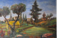 Fassina (XX sec.) - Paesaggio con pianura e alberi (Landscape with plain and trees)