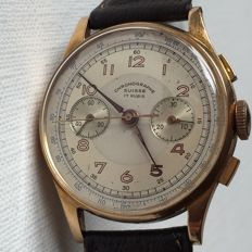 Swiss Chronographe Suisse- 1950s- Solid 18k Rose Gold- Men's Manual Watch-Jumbo Size-Rear