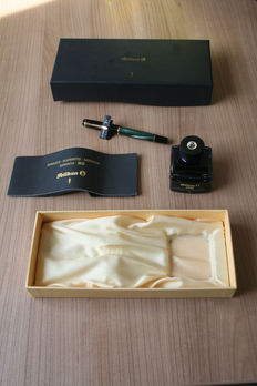Vintage Pelikan M200, marbled green, in gift box with inkwell - New Old Stock