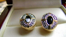 Sapphire diamond stud earrings 585 gold - 4.2g
