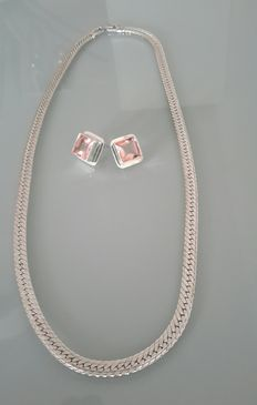 Napier necklace silverplated and large elegant silver earrings with soft pink glass stones