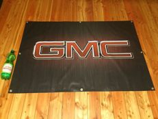 Big exclusive GMC Chevrolet advertisment banner from car show - California USA - 2th half 20 century.