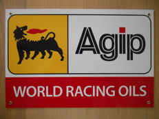 Metal advertising sign for Agip ' World Racing Oils ' USA - from 1995