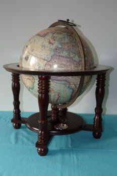 Mercator Globe in wooden chair with built-in compass